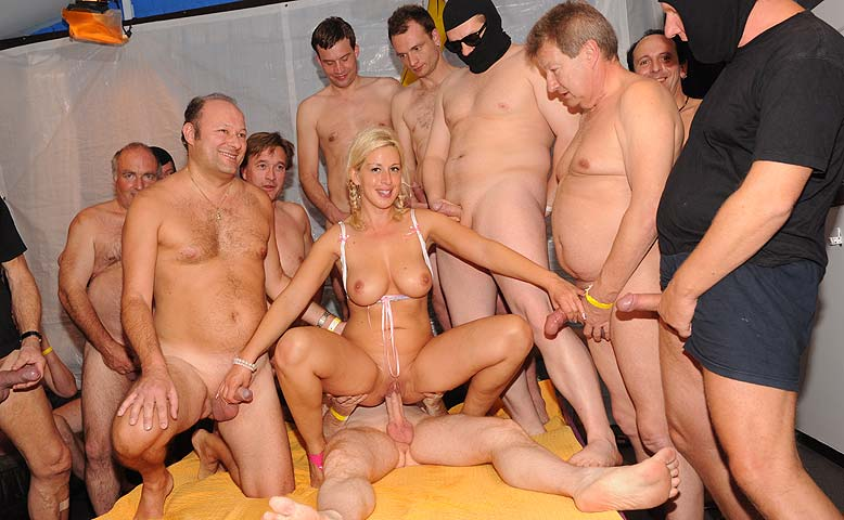 Slut girl fucking many men